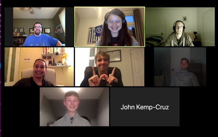 A Zoom call with eight participants of the Homebrew Website Club meeting posing for a picture, featuring James.